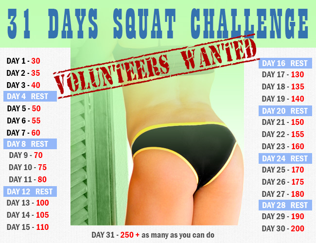 30 Days Squat Challenge vs. 31 Days Squat Challenge Plan - Weight Loss ...
